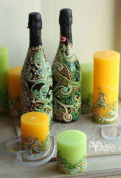 """Купить Свадебное шампанское """"Восток - дело тонкое"""" - ярко-зелёный, шампанское на свадьбу, свадебные аксессуары"""