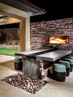 """34 The Best Backyard Fireplace Ideas Suitable For All Season – HOOMDESIGN Visit our internet site for even more information on """"outdoor patio ideas decorating"""". It is an exceptional place to read more. Outdoor Fireplace Designs, Backyard Fireplace, Backyard Patio, Backyard Landscaping, Fireplace Ideas, Fireplace Outdoor, Fireplace Inserts, Outdoor Kitchen Bars, Outdoor Kitchen Design"""