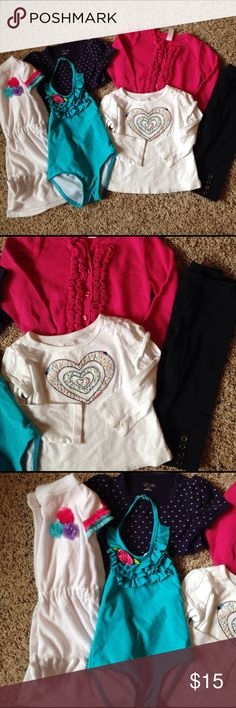 18 mo. Lot of 6 pieces. Lot of 6 pieces: 2 tops, 1 sweater, 1 legging, 1 ruffle swimsuit, 1 fleece cover up (24mo.). Good used condition.  Brands are children's place, Cherokee, kids R us, circle. Matching Sets