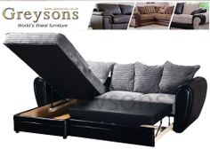 BRAND NEW LARGE AXEL CORNER SOFA BED JUMBO CORD IN BLACK & GREY / BROWN & BEIGE