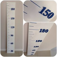 Growth Chart wooden metric ruler distressed white by BanksiaLane, $100.00