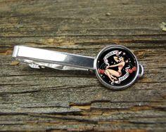 Pin Up Girl Tattoo Nautical Tie Clip-Silver-Gift Box-USA-Wedding-Keepsake-Man Gift-Groom-Groomsmen-History-Men Gift-Sailing-Marine-Ocean-Men by CynthiaCoolBeans on Etsy