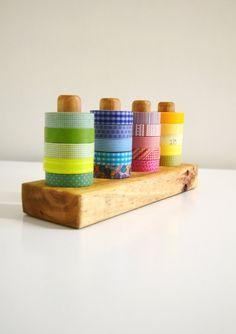 Dark Washi Tape Organizer  Wood Masking Tape Holder by 464Handmade, $35.00