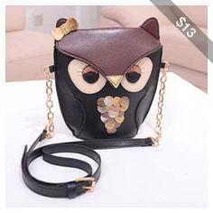 Rotita Cute Color Blocking Owl Pattern PU Shoulder Bag