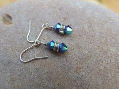 Earrings for a flower girl, Flower Girl Earrings, Small Fancy Earrings for Kids, Mermaid Colored Earrings, Sterling Silver Earrings Mermaid by NatureSpeaks2you on Etsy
