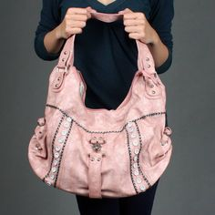 pink hobo bags and totes | Women Soft Hobo Crescent Studded Designer Shoulder Bag Handbag | 43441