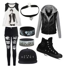 """""""Andy Black"""" by exmrys ❤ liked on Polyvore featuring Glamorous, Hot Topic and Converse"""