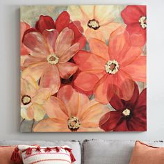 Details Large Sunshine Splash Canvas Art Print This warm floral canvas painting is gorgeous with matching pillows for your living room!This warm floral canvas painting is gorgeous with matching pillows for your living room! Modern Canvas Art, Diy Canvas Art, Acrylic Canvas, Canvas Art Prints, Large Canvas Art, Large Canvas Paintings, Face Paintings, Acrylic Paintings, Flower Painting Canvas