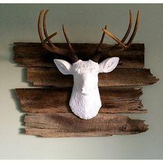 Newfoundland Woods Rustic Barnwood Mount - Reclaimed Wood Wall Hanging Background for Faux Animal Mounts Deer Mount Decor, Deer Head Decor, Antler Art, Antler Mount, Deer Mounts, Faux Taxidermy, Animal Heads, Reno, Rustic Farmhouse Decor