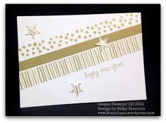 hand crafted card ... gold washi tapes .. stars punched from tape ... Stampin' Up!