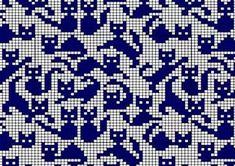 cat pattern to fill in Filet Crochet, Crochet Chart, Knitting Charts, Knitting Stitches, Knitting Patterns, Tapestry Crochet Patterns, Cross Stitching, Cross Stitch Embroidery, Cross Stitch Patterns