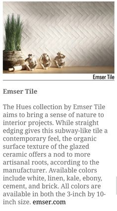 """Straight edging gives this subway-like tile a contemporary feel, the organic surface texture of the glazed ceramic offers a nod to more artisanal roots, according to the manufacturer. Available colors include white, linen, kale, ebony, cement, and brick. All colors are available in both the 3"""" by 10"""" size. emser.com Glazed Ceramic, Wall Tiles, Cement, Kale, All The Colors, Roots, Brick, Living Spaces, Surface"""