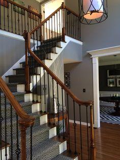 DIY Stair Re-do.  Wall color Benjamin Moore Galveston Gray
