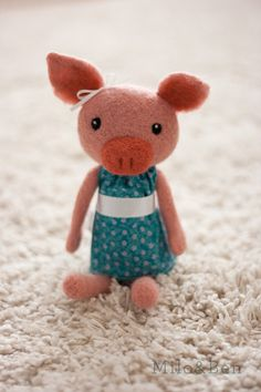 Penelope Needle Felted Pig Doll by MiloandBen