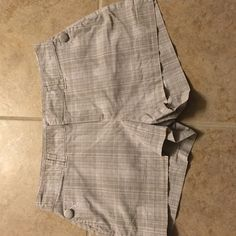 Calvin Klein size 4 Riley shorts. Great condition! Size 4 gray and white plaid Riley shorts. Great condition, minimal wear. Calvin Klein Shorts
