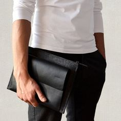 iPad Pro carry-all case black premium #italian #leather dark grey #merino wool fe, View more on the LINK: http://www.zeppy.io/product/gb/3/257222268/
