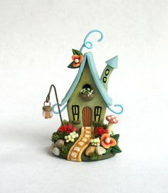 Miniature Whimsical Playful Fairy Cottage House OOAK by C. Rohal