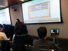 Photo showing screen with Live Captioning (CART) - NYC provider is Stenoknight - tune in with your eyes, verbatim speech to text for all in the audience - captions serve at least 1 in 5 there, sometimes more, and you have a ready transcript