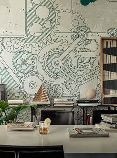 - Wall&Decò has presented new contemporary wallpaper collection. From charcoal drawing to wall painting, from fab Steampunk Bedroom, Steampunk Interior, Steampunk Furniture, Steampunk Bar, Steampunk Design, Office Mural, Office Walls, Office Wall Art, Art Mural