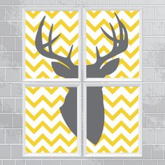 Big Buck Silhouette Chevron Print | Four 11 x 14 Prints