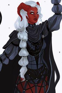 f Tiefling Sorcerer Robes Cloak female urban City Tower Zahra Critical Role lg Tiefling Paladin, Tiefling Female, Tiefling Sorcerer, Character Creation, Character Concept, Character Art, Character Ideas, Demon Art, Anime Demon
