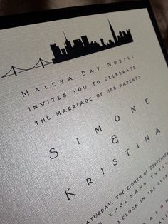 City Skyline Wedding Invitations by Take Note! Creations.  Perfect for an urban chic wedding showcasing the city you love!!!