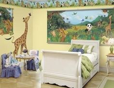 Animal & Jungle Safari Themes at http://kidsdecoratingideas.com/animal-safari-theme-room.php.  Animals! Always a favorite amongst kids, animal and jungle theme rooms are extremely versitile: they're great bedroom decor for younger boys and girls, and they make a fantastic nursery theme for baby.