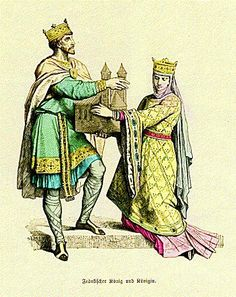 Frankish royal couple in early Medieval dress (11th or early 12th century).
