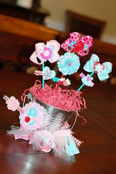 hair bow bouquet, cute for little girl baby shower