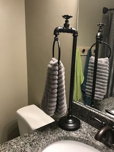 My Towel Holder Bathroom Hand Towel Holder, Bathroom Counter Storage, Industrial Bathroom, Master Bathroom, Alabama, Bathroom Ideas, Diy, Decor Ideas, House