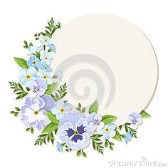 Vector card with blue and purple pansy and forget-me-not flowers. Eps-10.
