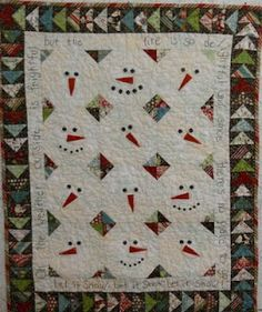 """""""Let It Snow"""" is complete.  All the noses stitched, embroidery done, and snaps added for the mouths and noses of the snowmen faces.  And machine quilted.  The pattern is by Farmhouse Threads.  http://karen-logcabinquilter.blogspot.com/2011/06/beginnings-and-endings.html"""