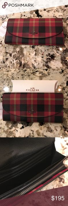 Coach Riley Plaid Slim Envelope Wallet♦️ Coach Riley Plaid Slim Envelope Wallet♦️. NEW With Tags. Matching Tote sold separately. Flap snap closure, back slip pocket. Inside has 12 card slots, zip pocket has two cash size pockets. Coach Bags Wallets