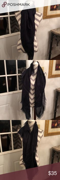 👄Just In👄 Navy Fringed Wrap Navy fringed acrylic scarf/wrap. Purchase by 4:00 pm CT for same day shipping. vera Accessories Scarves & Wraps