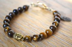 8mm Tigers Eye Buddha Bracelet!