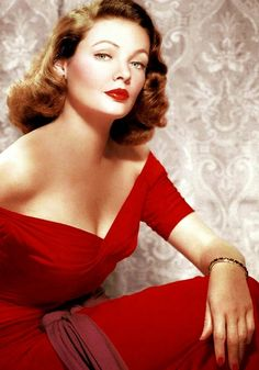 Gene Tierney, red dress and red fingernails.People thought my mom looked like Gene Tierney :) Glamour Vintage, Glamour Hollywoodien, Old Hollywood Glamour, Golden Age Of Hollywood, Vintage Hollywood, Vintage Beauty, Classic Hollywood, Hollywood Glam Dress, Old Hollywood Stars