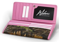 Mossy Oak clutch/wallet purse with Pink trim. $38 Like it for the convenience. Love it for Pink and Camo!
