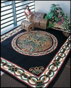 Handmade 100% Cotton Celtic Wheel of Life Tapestry Bedspread Black Tan Full