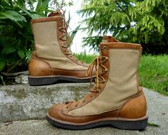 1970's Danner  Canvas and Leather Goretex Hiking Boots