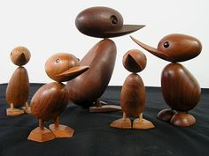 vintage danish teak toys.   This set of five teak ducks -- a mama and four babies -- was designed in the Fifties by Hans Bolling for Torben Orskov and measure between 5 and 9 inches tall.