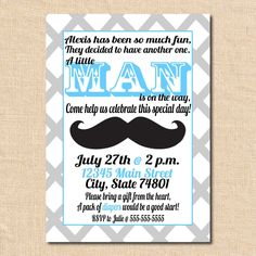 Bow Ties And Mustache Baby Shower Invitations