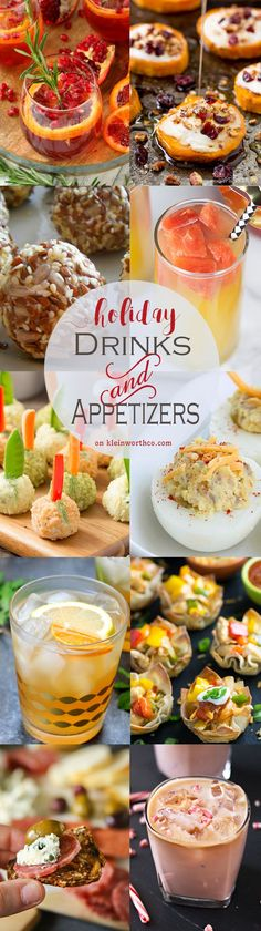 Plan a party with the Best Holiday Drinks & Appetizers your guest will love. These cocktail & appetizer recipes are absolutely INCREDIBLE! via @KleinworthCo