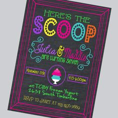 Ice Cream Birthday Party Invitation.  Frozen Yogurt Birthday Party Invitation