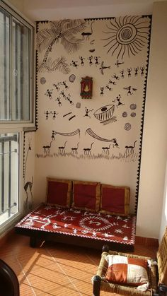 Balcony ideas Decor Inspiration, Decor Ideas, Room Ideas, Doodle Inspiration, 31 Ideas, Living Room Light Fixtures, Indian Interiors, Ethnic Decor, Tv Wall Design