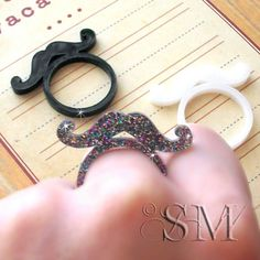 Mustache Rings  three ring set laser cut by SparkleMonsterStore