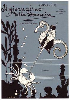 Antonio Rubino, 1907, cover for Il giornalino della Domenica | Book Cover Design