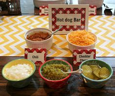 Hot dog bar for a summer cookout