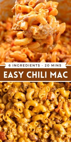This extra easy and flavor packed Chili Mac recipe is kid approved, only uses 6 ingredients, and is ready in under 20 minutes! #ChiliMac #Chili #MacAndCheese #EasyDinnerIdeas