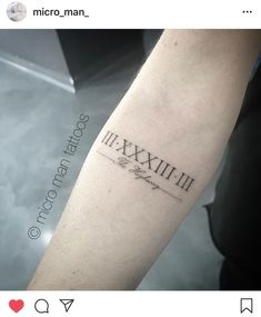 Roman numeral tattoo - script and fine line roman numeral # . - Roman numerals tattoo – script and fine line roman numeral – - Baby Name Tattoos, Hand Tattoos For Guys, Cool Forearm Tattoos, Tattoos For Women Small, Small Tattoos, Tattoos Of Kids Names, Kid Tattoos For Moms, Roman Numeral Tattoo Font, Tattoo Script