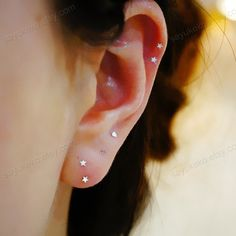 Silver tiny heart/star/ cartilage earring, cartilage stud, helix stud,helix earring 20g